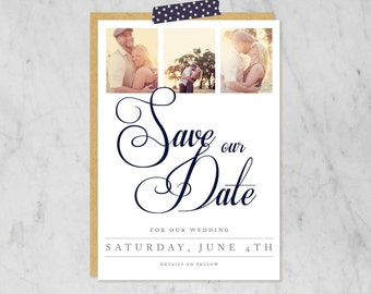 Printable Wedding Save-the-Date with Photos — Classic, Traditional, Simple