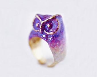 Amethyst Owl Ring