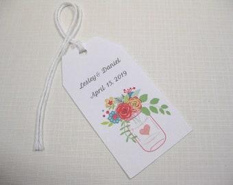 10 Personalized Wedding Favor Tags  Mason Jar Tags Wedding Favors  Bridal Shower Favor Tags  Spring Wedding Tags