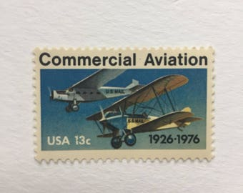 10 Commercial Aviation 13c US postage stamps unused - Vintage 1977 - blue airplane flight