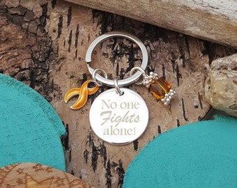 GO-3 No One Fights Alone Keychain, Appendix Cancer, Childrens Leukemia Cancer Awareness, Childhood Cancer