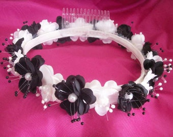 3 colors Silk large pearl flower Halo Flower Girl Head Piece Band