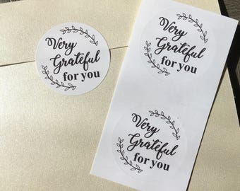 "Grateful for you Mail stickers - 50 1.5"" circular"