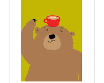 Black bear with coffee funny note card