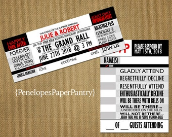 Concert Ticket Wedding Invitation,Red,Black,White,Event Ticket,Rock and Roll,Country,Punk,Fun,Unique,Romantic,Custom,Printed Invitations