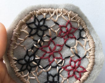 Hand Made Original Sew On Jacket Patch Felt Thread Embroidery Needlework Textiles Artwork Clothing Bag Purse