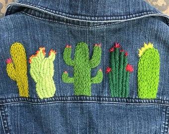 One of a Kind Women's Size Medium Hand Embroidered Cactus Denim Jacket