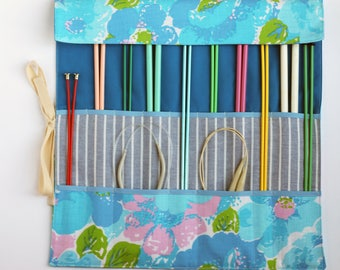 Knitting Needle Organizer, Knitting Needle Case, Knitting Accessory, Vintage Blue Floral by Knotted Nest