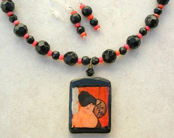 Erotic Japanese Beauty, Decoupaged Wood Pendant & Glass Beads, Oriental Clasp, Necklace Set by SandraDesigns