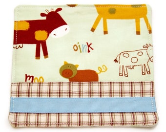 Large Fabric Coaster, Farm Animals, Kids Snack Cozy, Pig Coaster, After School Snack Mat, Drink Mat, Barnyard Animals, Handmade Mug Rug