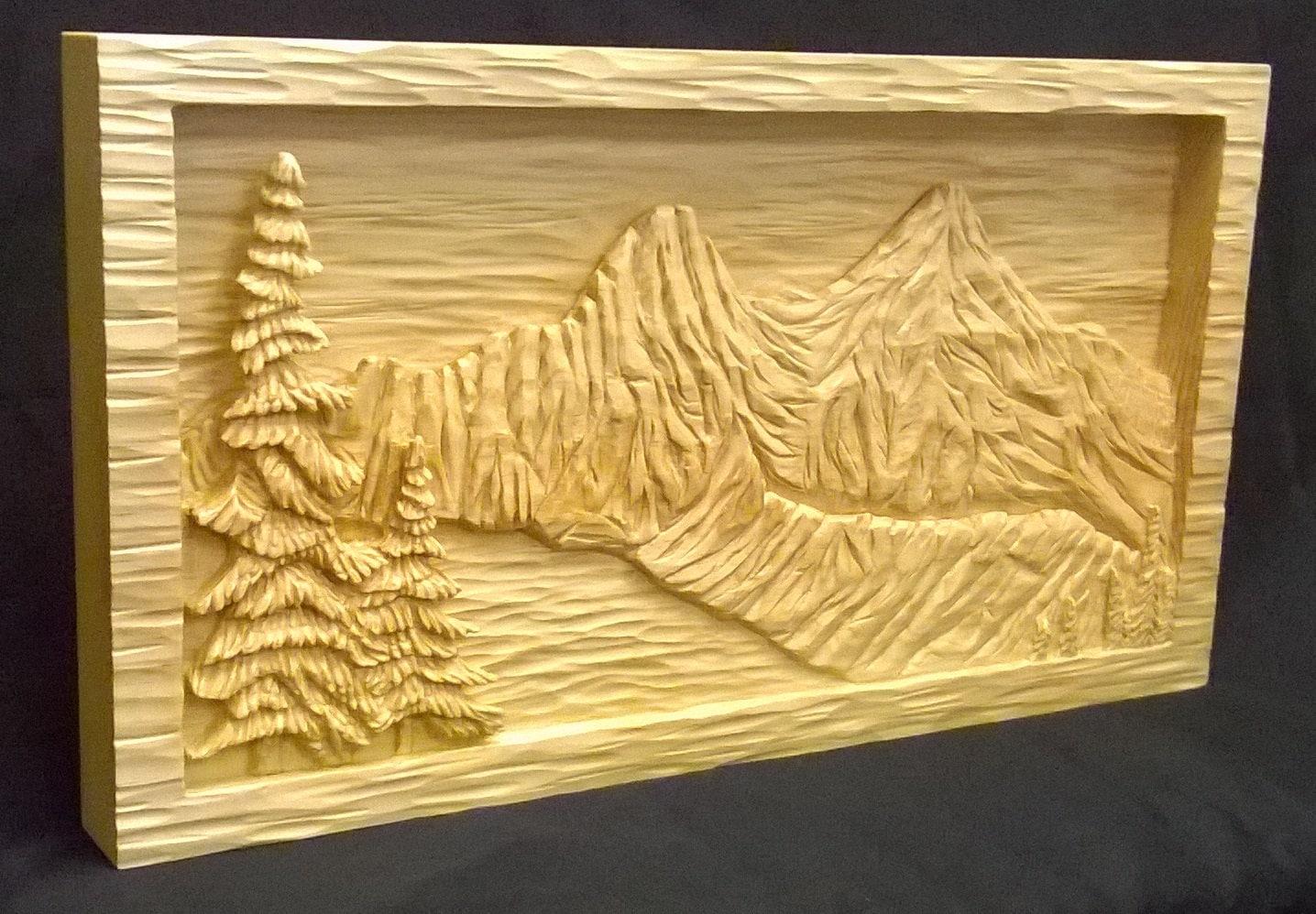 Mountain lake relief carving sugar pine