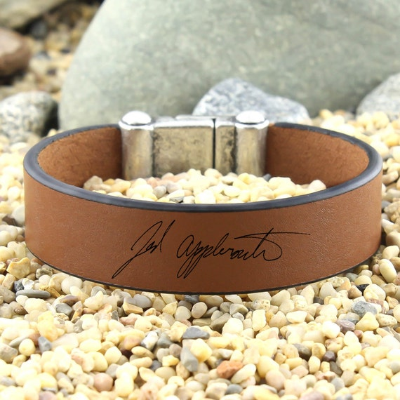 Custom handwriting bracelet leather