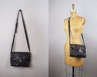 Vintage Coach Black ag | vintage Coach bag | black leather saddle bag