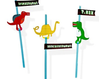 Dinosaur Straws With Name Flag Stickers, Party Straws, Dinosaur Party Decorations, Dinosaur party, Dinosaur party decor, 1st birthday