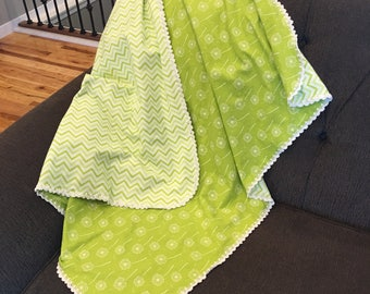 Double Layer Flannel Baby Blanket with Crochet Edging