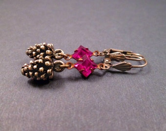 Pine Cone Earrings, Brass Pinecone Charms, Hot Pink Glass Rhinestones, Dangle Earrings, FREE Shipping U.S.