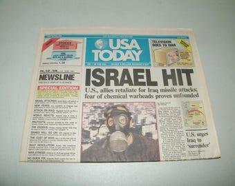 USA Today Newspaper 13165 January 18 19 20 1991 First 1st Gulf War