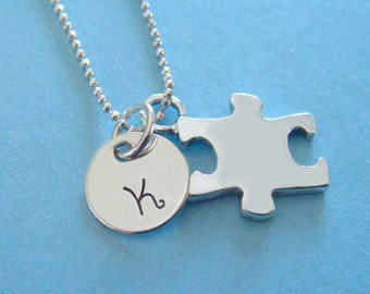 Autism Necklace with Sterling Silver Puzzle Piece Charm and Personalized Initial Charm // gifts for mom // gifts for her // autism charm