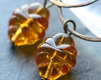Honeydrop Earrings - Vintage Glass and Antiqued Brass