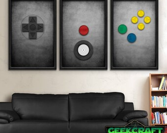 Nintendo Art, Nintendo 64, N64, Controller, Retro, Videogames, Gamer, Minimalist, Mario, Zelda, Samus, N64 Controller Print Set