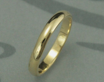 Solid 18K Gold 3mm wide Plain Jane Half Round Band--YOUR Choice of 18K Rose Gold, White Gold, or Yellow Gold--Custom Made Just for YOU