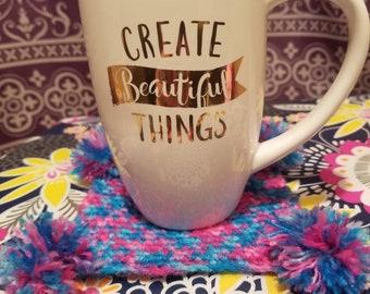 Set of 4 ~ Crocheted Pom pom coasters