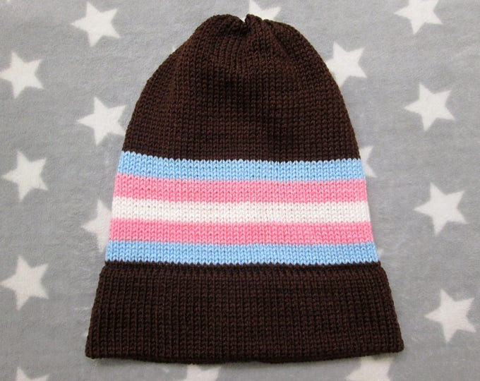 Knit Pride Hat - Trans Pride - Brown Slouchy Beanie - Acrylic