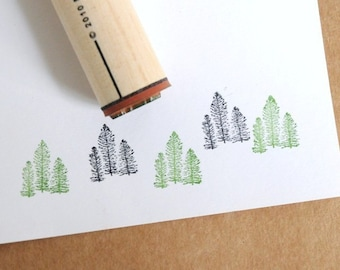 Tree Cluster Rubber Stamp