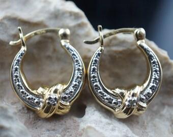STERLING SILVER 925 Gold Vermeil Vintage Art Deco Stud Pierced Earrings Estate ring  hoop hammered st48