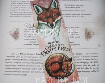 "Bookmark Red Fox ""foxes, charms and spells"""
