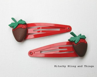 Chocolate Dipped Strawberry  - Hair Clips