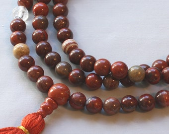 Poppy Jasper Mala Prayer Beads with Quartz and Silk Tassel - Brecciated Jasper Mala Necklace - 108 or 111 Bead Mala Beads - Good Energy Mala