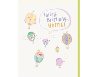 "Hot Air Balloon ""Hottie"" Birthday Card"