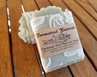 Handmade Blue Magnolia Soap