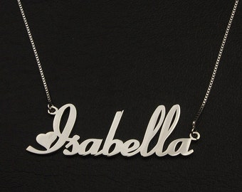 Sterling Silver Name Necklace, Heart Style Name Necklace, Personalized Jewelry, Name with Neckalce, Name Jewelry, Custom Name Jewelry, Gift