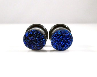 Dark Navy Blue Sparkle Faux Druzy Plugs - Available in 2g, 0g, and 00g