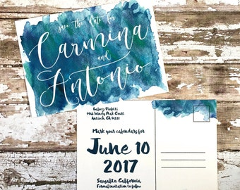 Save the date postcards, set of 10 printed handmade wedding cards, blue watercolor save the dates, simple navy wedding postcard invitations