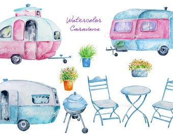 Watercolour blue caravan, pink caravan, barbeque printable instant download, vintage caravan clipart