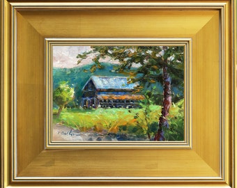 Old Barn, Old Barn Painting, Original Oil Painting, Rural America, Rural Landscape Painting,  Farm Painting, Americana, Framed Painting