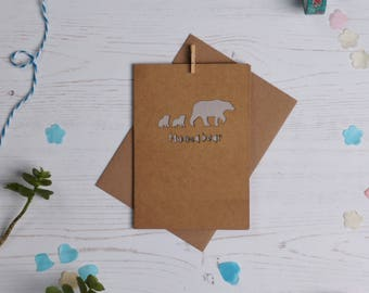 Mumma bear paper cut card- brown, mother's day card, mum card, paper cut, cards for her, cards for mum, cards for new mum, free P&P