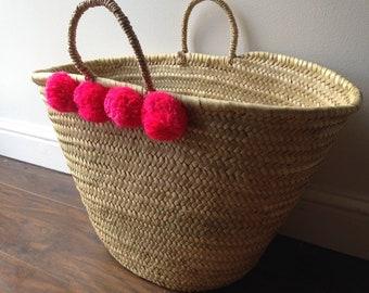 Moroccan Pink Pom Pom Basket, French Market Beach Bag