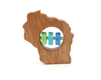 WISCONSIN State Baby Rattle™ - Modern Wooden Baby Toy - Organic and Natural