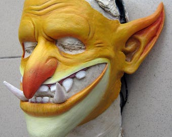 Latex goblin mask (troll, orc, gretchin, greenskin mask for cosplay and LARP makeup)