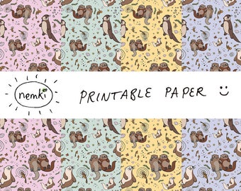 Otter Printable Paper Otter Downloadable Paper Otter Digital Paper Otter Print Otter Downloadable Otter Pattern Paper Otter Download