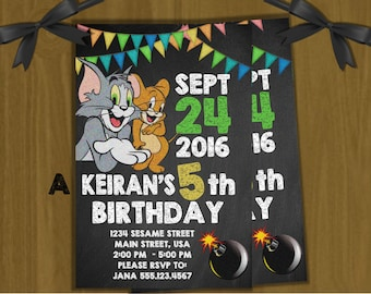 Tom and Jerry Personalized Invitations ~ chalkboard style ~ with or without photo