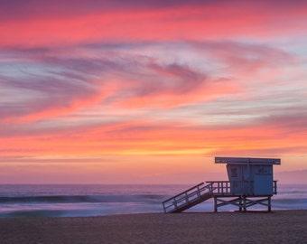 Lifeguard Station Sunset Beach Surf Photography Decor Print Ocean Hawaii, Maui, Oahu, Kauai, Tropical, Hawaiian Island, California, Florida
