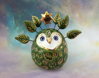 Green Fairy Owl Ceramic Sculpture with Gold Star and Leaves