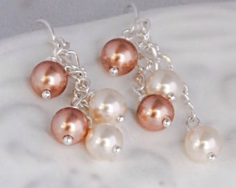 Rose Gold and Cream Pearl Earrings Silver Pearl Drop Earrings Rose Gold Jewelry Bridesmaids Earrings Gift for Her under 30 Bridal Party Gift