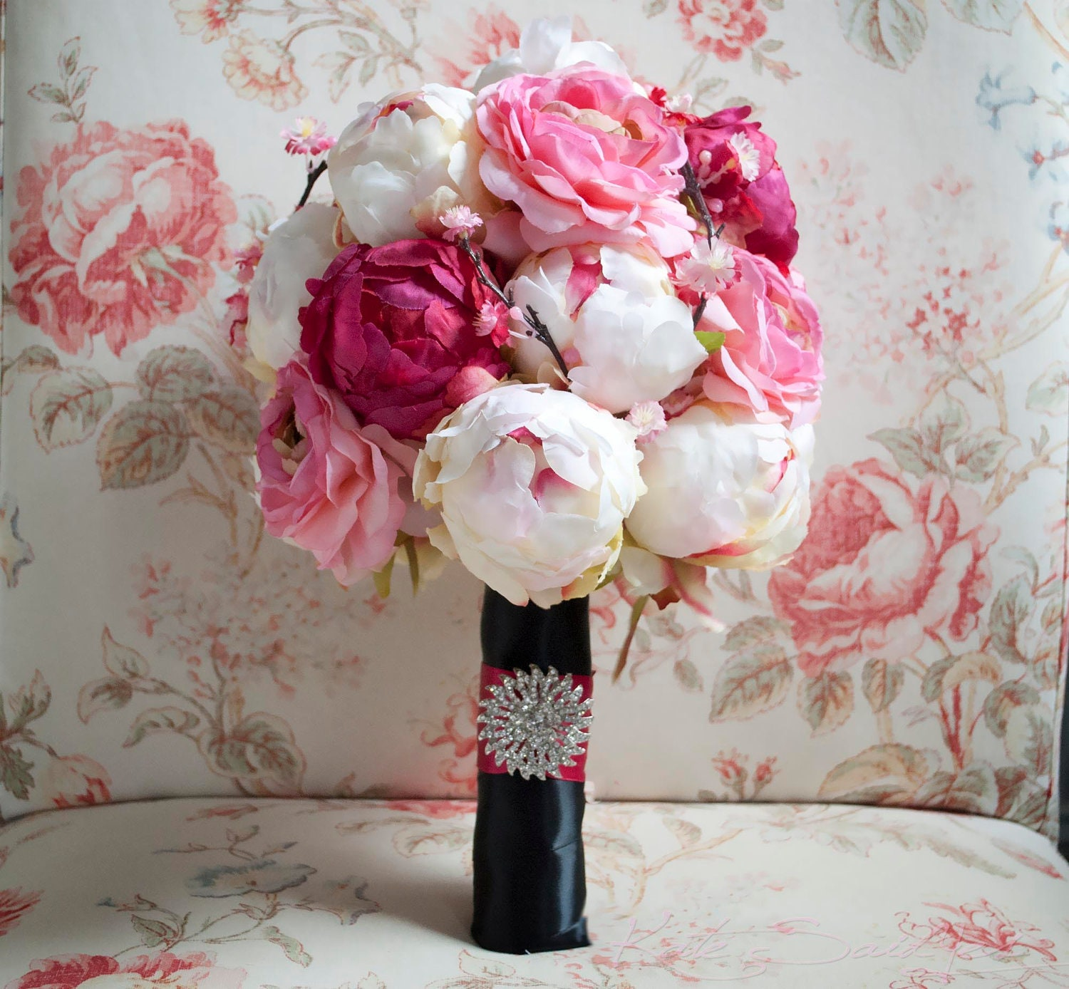 Cherry Blossom and Peony Wedding Bouquet Black and Pink