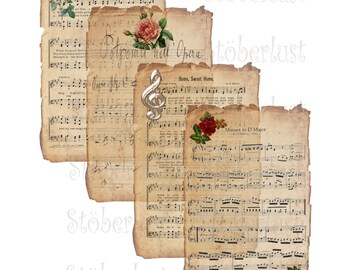 Instant DOWNLOAD shabby background, vintage music sheet, roses, clef  21 x 29,7 cm